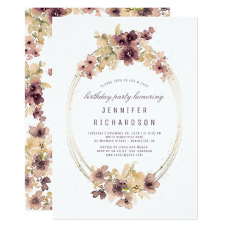Mauve and Gold Vintage Floral Birthday Party Card
