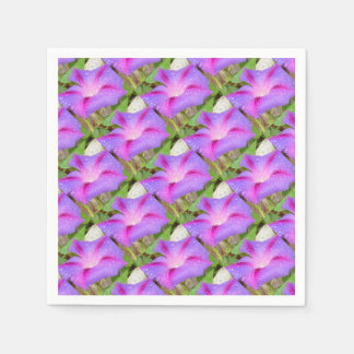 Mauve and Magenta Morning Glory with Water Drops Paper Serviettes