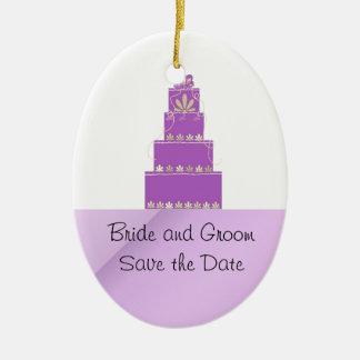 Mauve and Purple Wedding Cake Design Ceramic Ornament