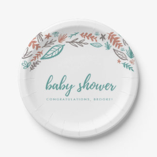 Mauve and Teal Green Fall Leaves Baby Shower Paper Plate