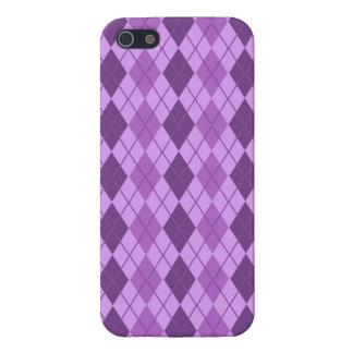Mauve and Violet Purple Vintage Argyle look Case For iPhone 5/5S