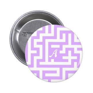 Mauve and White Maze Monogram Pinback Button
