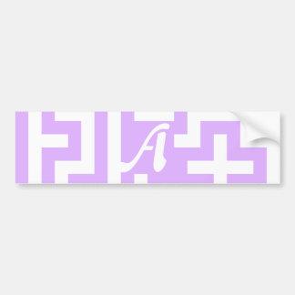 Mauve and White Maze Monogram Bumper Sticker