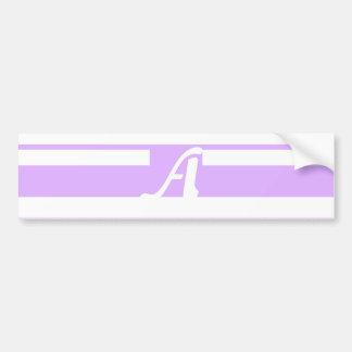 Mauve and White Random Stripes Monogram Bumper Stickers
