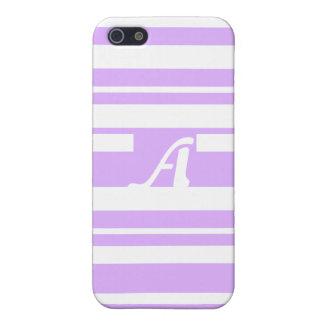 Mauve and White Random Stripes Monogram iPhone 5/5S Covers