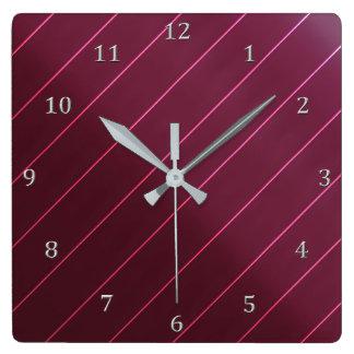 Mauve Berry Wine Diagonal Pin Stripe Gray Numbers Square Wall Clock