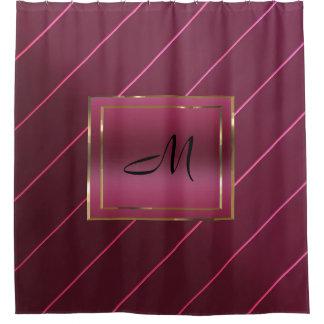 Mauve Berry Wine Diagonal Stripe Gold Box Monogram Shower Curtain