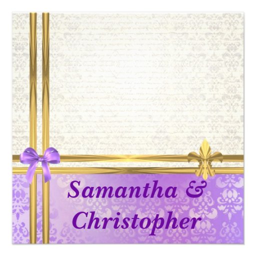 Mauve & cream damask with gold ribbon wedding announcement