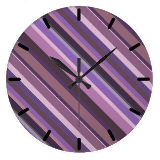 Mauve diagonal stripes clock