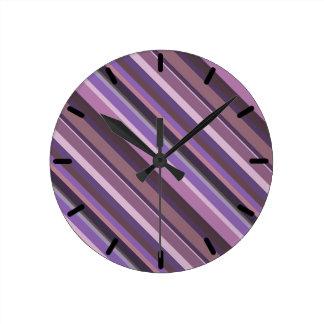 Mauve diagonal stripes clocks