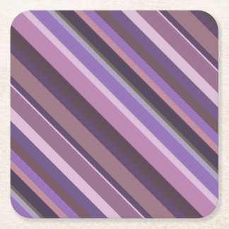 Mauve diagonal stripes square paper coaster