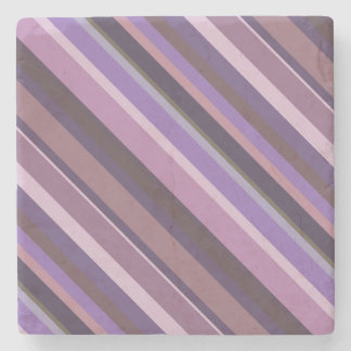 Mauve diagonal stripes stone coaster