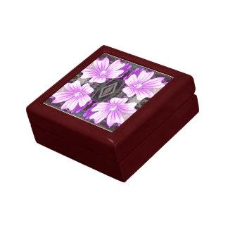 Mauve Flower Photo Fractal Gift Box Red Mahogany S