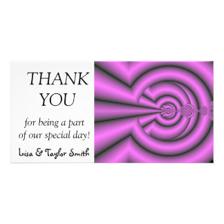 Mauve fractals personalised photo card