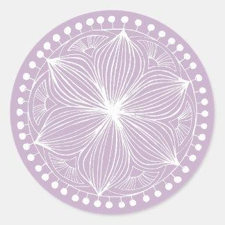 Mauve Frankie Mandala Classic Round Sticker
