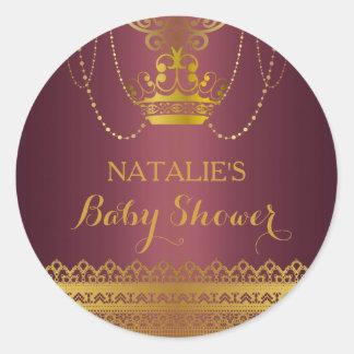 Mauve & Gold Crown Baby Shower Sticker