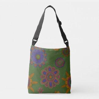 Mauve & Gold Flowers Crossbody Bag