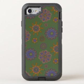 Mauve & Gold Flowers OtterBox Defender iPhone 7 Case