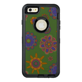 Mauve & Gold Flowers OtterBox Defender iPhone Case