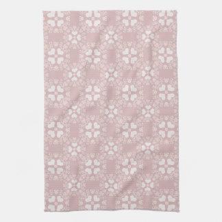 Mauve Heart Damask Kitchen Towel