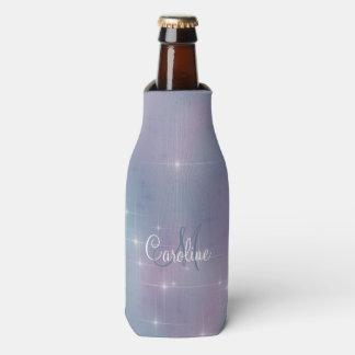 Mauve Lavender Teal Sparkle Bottle Cooler
