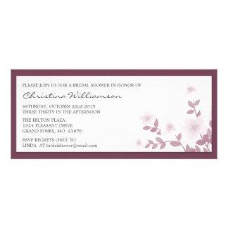 Mauve Long Floral Bridal Shower Invitations