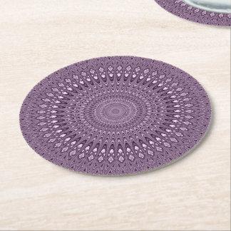 Mauve mandala round paper coaster