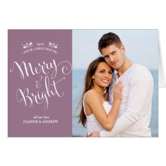 Mauve Merry + Bright Family Christmas Photo Card