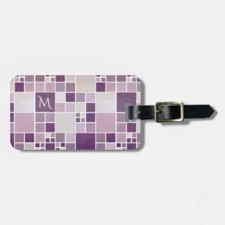 Mauve Pattern Watercolor Monogram Luggage Tag