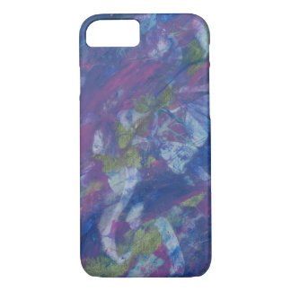 Mauve, periwinkle and olive collage iPhone 7 case