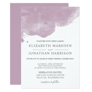 Mauve Pink Abstract Watercolor Modern Wedding Card