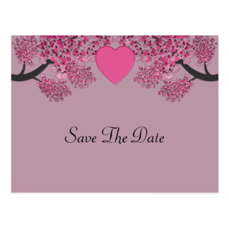 Mauve Pink Velvet Embossed Heart Trees Wedding Postcard