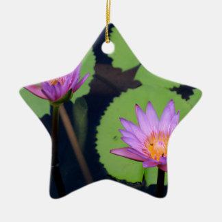 Mauve pink water lilies ceramic ornament
