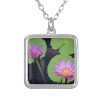 Mauve pink water lilies silver plated necklace