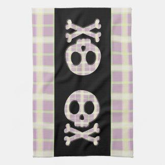 Mauve Plaid Skull Tea Towel