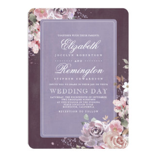 Mauve Plum and Lilac Vintage Floral Wedding Card