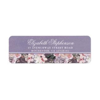 Mauve Plum and Lilac Vintage Floral Wedding Return Address Label