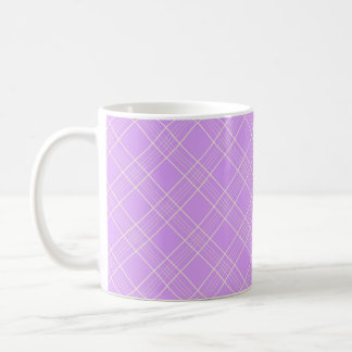 Mauve Purple Plaid Pattern Basic White Mug