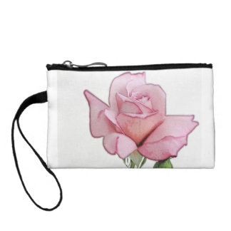Mauve Rose Pastel style Key Coin Clutch Change Purses