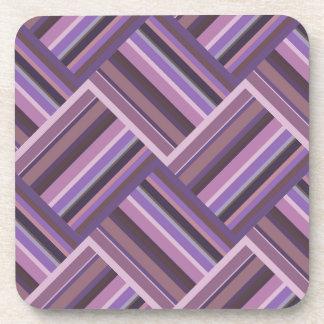 Mauve stripes diagonal weave pattern coaster