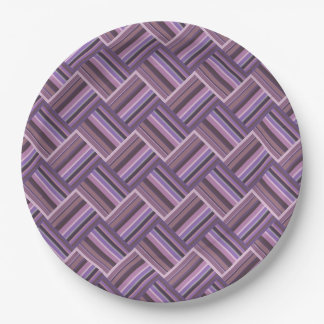 Mauve stripes diagonal weave pattern paper plate