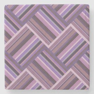 Mauve stripes diagonal weave pattern stone coaster