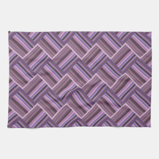 Mauve stripes diagonal weave pattern tea towel