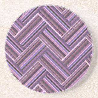 Mauve stripes double weave pattern coaster