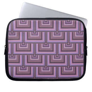 Mauve stripes square scales pattern laptop sleeve