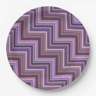 Mauve stripes stairs pattern 9 inch paper plate