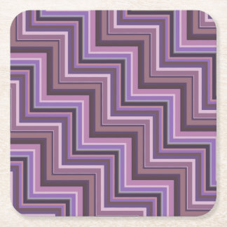 Mauve stripes stairs pattern square paper coaster