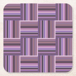 Mauve stripes weave pattern square paper coaster