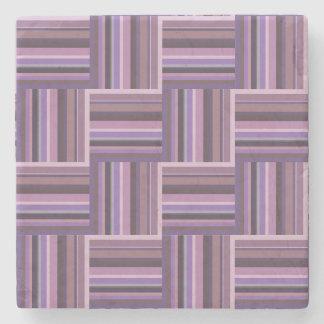 Mauve stripes weave pattern stone coaster