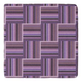 Mauve stripes weave pattern trivet